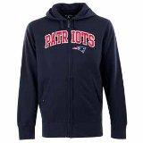 NFL Men's New England Patriots Split Applique Full Zip Hood (Navy, Large)