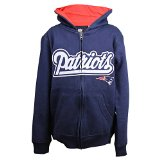Youth NFL Team Logo Full Zip Lightweight Hoodie (New England Patriots, XL 18)