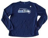 NFL Officially Licensed Seattle Seahawks Navy Blue Poly Thermal Long Sleeved Shirt (Extra Large)