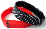 Large 1 Real Red 1 Black with White Dots Spots Band for Fitbit FLEX Only With Clasps Replacement /No tracker/