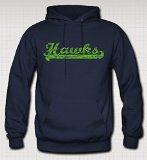 Hawks Vintage Style Hoodie Sweatshirt (Navy Blue) (L)