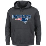 NFL New England Patriots Long Sleeve Pullover Screen Printed Hoodie, XX-Large Tall, Charcoal/Heather