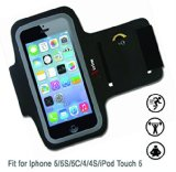 iPhone 5 or iPhone 4 Sport Cell Phone Armband by xTrim | with Key Holder | Fit for iPhone 5,5S,5C,4,4S, iPod Touch 5 (Black) | High-Quality, Light Weight 3mm Neoprene + double-sided Lycra + Reflective Trim | FREE Fitness Manual BONUS | MONEY BACK GUARANTEE