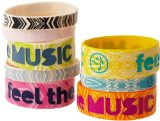Zumba Fitness Feel The Music Rubber Bracelets (Pack of 8), One Size, Multi