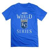 RIen Men's Kansas City Royals 2015 World Series WS Logo T-Shirt - L RoyalBlue
