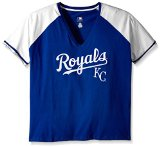 MLB Kansas City Royals Women's Short Sleeve Raglan Deep V-Neck T-Shirt, 2X, Royal/White