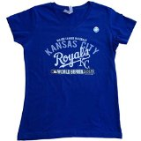 Kansas City Royals SAAG Women 2015 World Series Blue V-Neck T-Shirt (M)