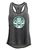 Tough Cookie's Women's Mineral Washed Starbucks Parody Muscle Girl Tank Top (X-Large, Charcoal)