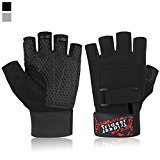 Ultralight Weight Lifting Gym Gloves, Light Microfiber & Anti-Slip Silica Gel Grip Glove for Workout, Training, Fitness, Bodybuilding and Exercise Men & Women (Black, S (Fits 5.9-6.8 Inches))