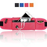 AIKELIDA Running Belt / Runners Belt / Sports Bag / Fitness Belt / Waist Bag for iPhone , Samsung Galaxy - for Men, Women during Workouts, Fitness, Cycling, Hiking, Walking, Running - Pink