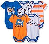 PUMA Baby Boys' 5 Pack Bodysuits, Fire Orange, 3/6M