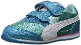 PUMA Girls' Steeple Glitz Glam V Kids Sneaker, Aruba Blue-Puma White, 9 M US Toddler