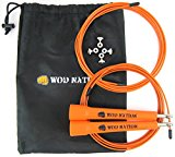 WOD Nation Speed Jump Rope - Blazing Fast Rope for Endurance training for Boxing, MMA, Martial Arts or Just Staying Fit + FREE Video Training - Fully Adjustable to Fit Men, Women and Children - ORANGE