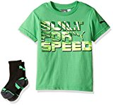 PUMA Big Boys' Graphic Tee and Sock, Field Green, X-Large (18/20)