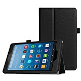 Fintie Folio Case for All-New Amazon Fire HD 8 Tablet (7th Generation, 2017 Release) - Slim Fit Premium Vegan Leather Standing Protective Cover with Auto Wake / Sleep, Black