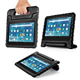 TNP Shock Proof Case for All New Fire 7 Tablet (7th Gen, 2017 Release) - For Kid Friendly Child Proof Anti Slip Impact Drop Light Weight Convertible Handle Stand Cover Protective Case (Black)