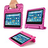 TNP Shock Proof Case for All New Fire 7 Tablet (7th Gen, 2017 Release) - For Kid Friendly Child Proof Anti Slip Impact Drop Light Weight Convertible Handle Stand Cover Protective Case (Pink)