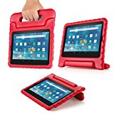 TNP Shock Proof Case for All New Fire 7 Tablet (7th Gen, 2017 Release) - For Kid Friendly Child Proof Anti Slip Impact Drop Light Weight Convertible Handle Stand Cover Protective Case (Red)