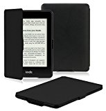 OMOTON Kindle Paperwhite Case Cover -- The Thinnest and Lightest PU Leather Smart Cover for All-New Kindle Paperwhite (Fits All versions: 2012, 2013, 2014 and 2015 All-new 300 PPI Versions), Black