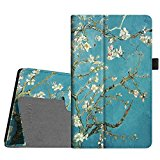 Fintie Folio Case for All-New Amazon Fire HD 8 Tablet (7th Generation, 2017 Release) - Slim Fit Premium Vegan Leather Standing Protective Cover with Auto Wake / Sleep, Blossom