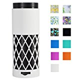 Auchee Silicone Case Stand Cover for Amazon Echo Speaker - 2mm Sleek Mesh Design Allow Real Sound from Echo, Impact & Drop Resistant, Precise Cutouts for Amazon Logo & Plug Hole (White)
