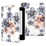 MoKo Case for Kindle Paperwhite, Premium Thinnest and Lightest PU Leather Cover with Auto Wake / Sleep for Amazon All-New Kindle Paperwhite (Fits 2012, 2013, 2015 and 2016 Versions), Floral INDIGO