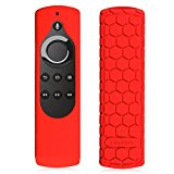Fintie Silicone Case for All-New Fire TV 4K / 2nd Gen Fire TV Stick Voice Remote, Compatible with Amazon Echo / Echo Dot Alexa Voice Remote - Honey Comb Series [Anti Slip] Shock Proof Cover, Red