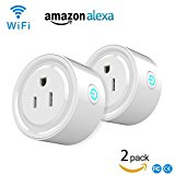 Alquar Remote Wifi Mini Smart Plug Work With Alexa Google Home Outlet Compatible With Voice Activated Devices Echo Dot Multi-function Switch (2 PCS PACK)