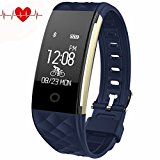 Fitness Tracker,Juboury Heart Rate Activity Tracker Touch Screen Wearable Pedometer Bluetooth Smart Wristand with Sleep Monitor,Steps Counter,Calories Track for Android and IOS Smart Phones (Blue)