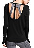 Ssyiz Women's Long Sleeve Stretchy Top Solid Color Fashion T Shirt,Black,Medium