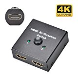 ELUTENG Bidirectional HDMI Switch 1x2 AB Switch 4K HDMI 2x1 Splitter 3D HDMI 1.4 AB HDMI Switch for TV PS4, PS3, Fire TV box, HDTV, DVD, Xbox
