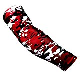 Nexxgen Sports Apparel Moisture Wicking Compression Arm Sleeve (Single) - Men, Women, Adult & Youth - 40 Colors - Digital Camo & Elite (Large, Maroon/Black/White)