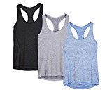 icyzone Activewear Running Workouts Clothes Yoga Racerback Tank Tops For Women(Pack Of 3) (M, Black/Granite/Blue)
