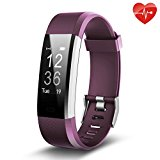 Fitness Tracker, Juboury Slim Heart Rate Smart Bracelet Wearable Pedometer Touch Screen Activity Tracker Fitness Watch for Android and IOS Smart Phones (Purple)