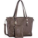 WISHESGEM Women Fashion Handbags Top-Handle Shoulder Bags PU Leather Tote Bags Crossbody Purse Dark Chestnut
