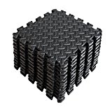 A2ZCare Puzzle Exercise Mat with EVA Foam Interlocking Tiles (Protective Flooring) - Perfect for Home Gym, Aerobic, Yoga & Pilates (Black (12pcs))