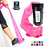 SUPER EXERCISE BAND Heavy Fuchsia Pink Resistance Band. Your Home Gym Fitness Equipment Kit for Strength Training, Physical Therapy, Yoga, Pilates, Chair Workout | LATEX FREE ALLERGIC SAFETY | 7 ft