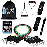 Resistance Band Set - Include 5 Stackable Exercise Bands with Waterproof Carrying Case, Door Anchor Attachment, Legs Ankle Straps and Exercise Guide eBooks - 100% Life Time Guarantee