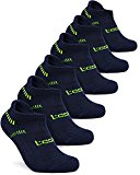 Tesla TM-MZS04-NVY_Large Men's 6-Pairs Atheltic No Show Socks Cushioned Comfort w Mesh MZS04