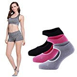 LIBRUONE Yoga Barre Socks Non Slip Skid for Barre Pilates Ballet 3 Pairs Cotton Socks One Size 5 10