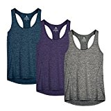 icyZone Activewear Running Workouts Clothes Yoga Racerback Tank Tops for Women (XL, Royal Blue/Purple/Charcoal)