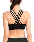 YIANNA Womens Sports Bra Padded Medium Support Cross Back Strappy Wirefree Running Yoga Bra Tops,YA-BRA145-Black-M
