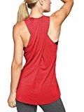 Bestisun Women's Sexy Yoga Tank Top Back Crossover Workout Sport Shirt Racerback T-Shirt Knit Tee Red L