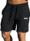 Ouber Men's Gym Workout Shorts Bodybuilding Running Training Jogging Pants (Black,M)
