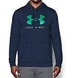 Under Armour Men's Rival Fleece Fitted Graphic Hoodie,Midnight Navy/Glass Green, X-Large