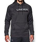 Under Armour Men's Fleece Wordmark Hoodie, Carbon Heather/Black, X-Large