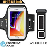 Large Running Armband for iPhone 8 Plus 7 Plus 6s Pus 6 Plus, Fits Otterbox Defender case, Samsung Galaxy S9 + S8 Plus, Note 8/3/4/5, LG G6, Portholic Exercise Pouch Phone Holder-Fingerprint Access