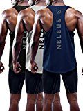 Neleus Men's 3 Pack Dry Fit Muscle Tank Workout Gym Shirt,5031,Black,Navy,Grey,M,Tag L