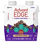 EAS AdvantEDGE Carb Control Protein Shake Cold Brew Coffee Ready-to-Drink, 17 g of Protein 11 fl oz Bottles, 12 Count