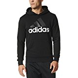 adidas Men's Essential Linear Logo Pullover Hoodie, Black/White, X-Small